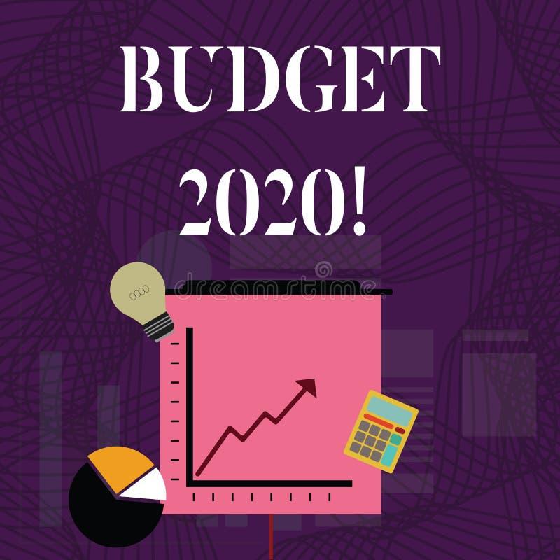 Textzeichen-Vertretung Budget 2020 Begriffsfotoschätzung des Einkommens und der Ausgaben für folgendes oder laufendes Jahr Invest lizenzfreie abbildung