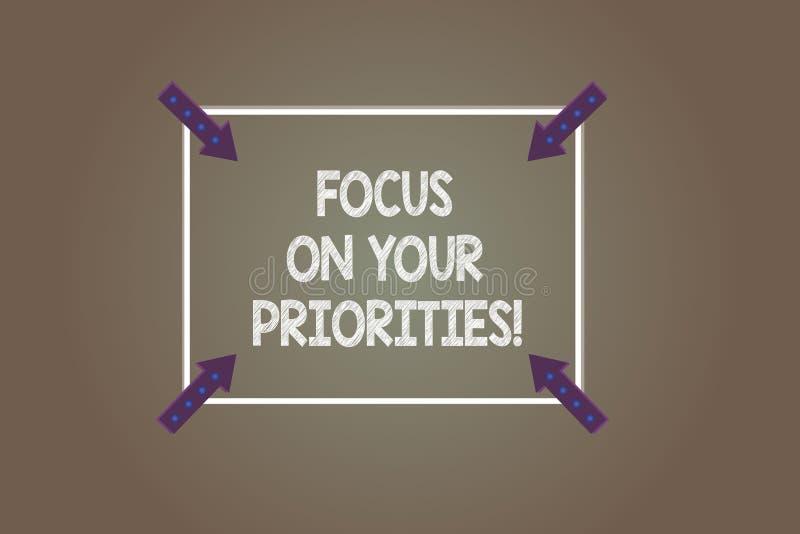 Textzeichen-Vertretung Fokus auf Ihren Prioritäten Begriffsfoto machen einen Plan, der auf wichtigen Dingen basiert, um Quadrat z lizenzfreie abbildung