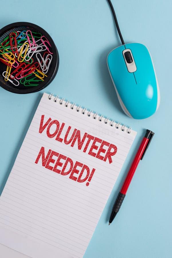 Textzeichen-Vertretung Freiwilliger ben?tigt Begriffsfoto, welches das Demonstrieren zur Arbeit um Organisation bittet, ohne geza lizenzfreies stockbild