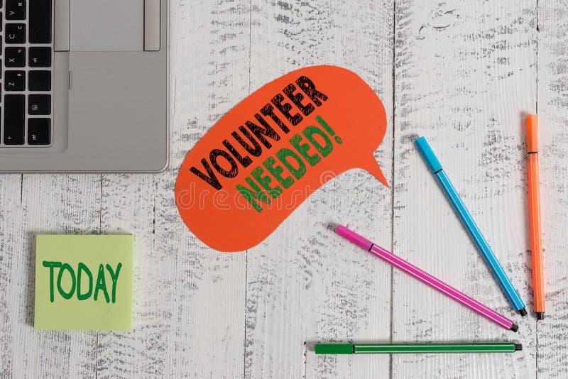 Textzeichen-Vertretung Freiwilliger ben?tigt Begriffsfoto, welches das Demonstrieren zur Arbeit um Organisation bittet, ohne geza lizenzfreies stockfoto