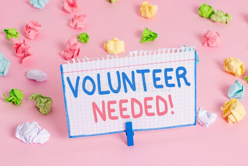 Textzeichen-Vertretung Freiwilliger ben?tigt Begriffsfoto, welches das Demonstrieren zur Arbeit um Organisation bittet, ohne geza stockfoto