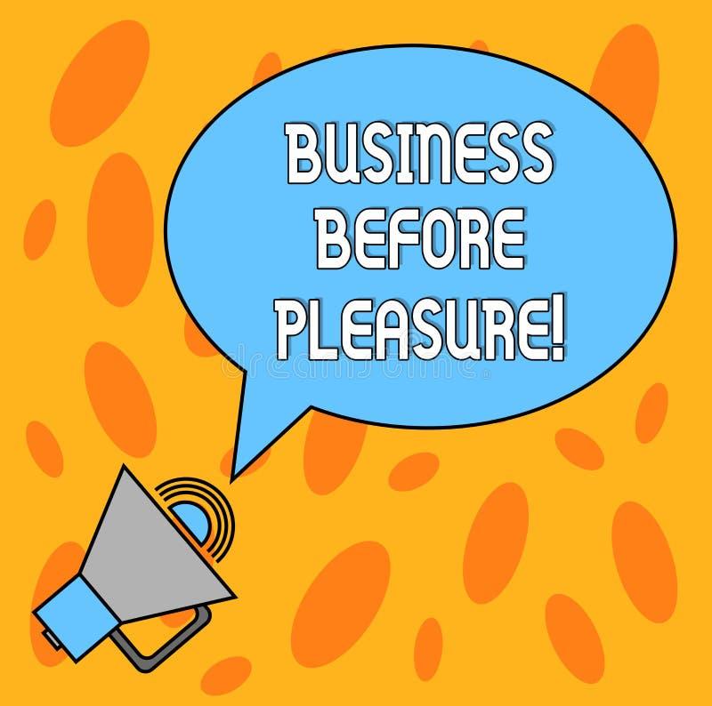 Textzeichen-Vertretung Geschäft vor Vergnügen Begriffsfotoarbeit ist wichtiger als Unterhaltung leeres Oval stock abbildung