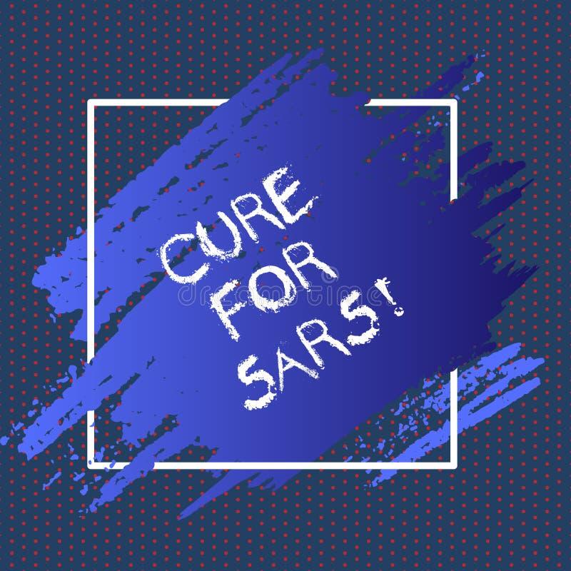 Textzeichen-Vertretung Heilung für Sars Ärztliche Behandlung des Begriffsfotos über schwerem akutem respiratorischem Syndrom stock abbildung