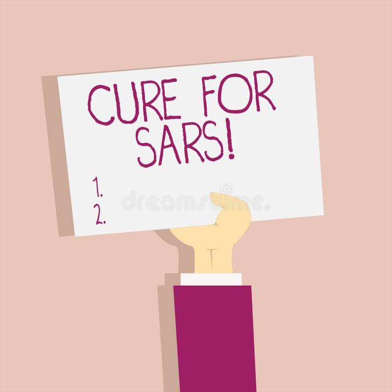 Textzeichen-Vertretung Heilung für Sars Ärztliche Behandlung des Begriffsfotos über schwerem akutem respiratorischem Syndrom vektor abbildung