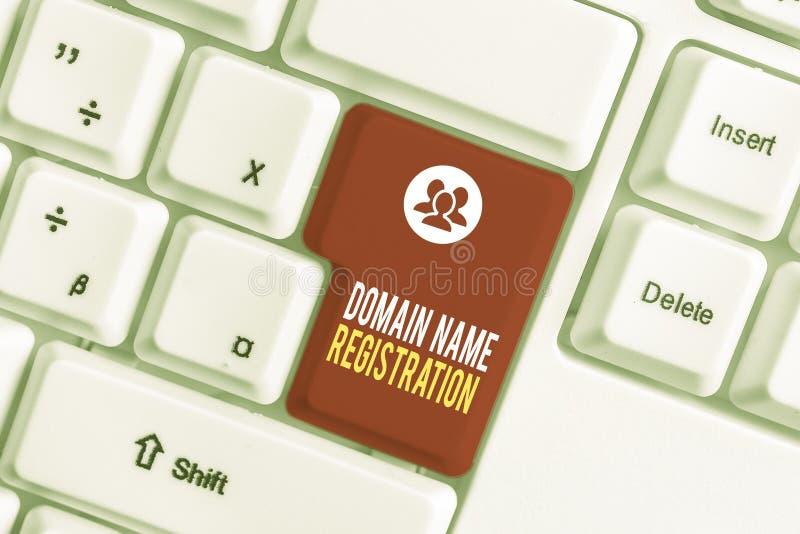 Textzeichen zur Registrierung von Domänennamen Konzeptuelles Foto Eigene IP-Adresse Identifizieren einer bestimmten Webseite Weiß lizenzfreie stockbilder