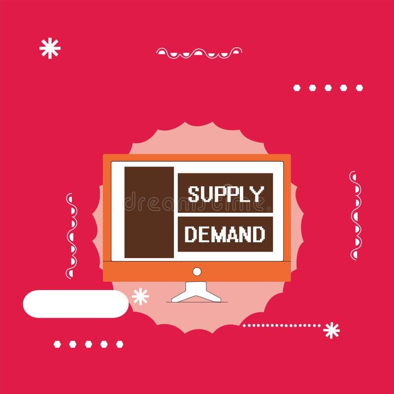 Textzeichendarstellen Angebot-Nachfrage Begriffsfoto Verhältnis zwischen den Mengen verfügbar und gewünscht lizenzfreie abbildung