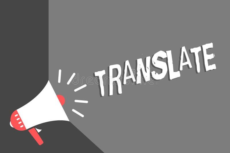 Textzeichenvertretung übersetzen Begriffsfoto ein anderes Wort mit der gleichen gleichwertigen Bedeutung eines Zielsprache Megaph lizenzfreie abbildung