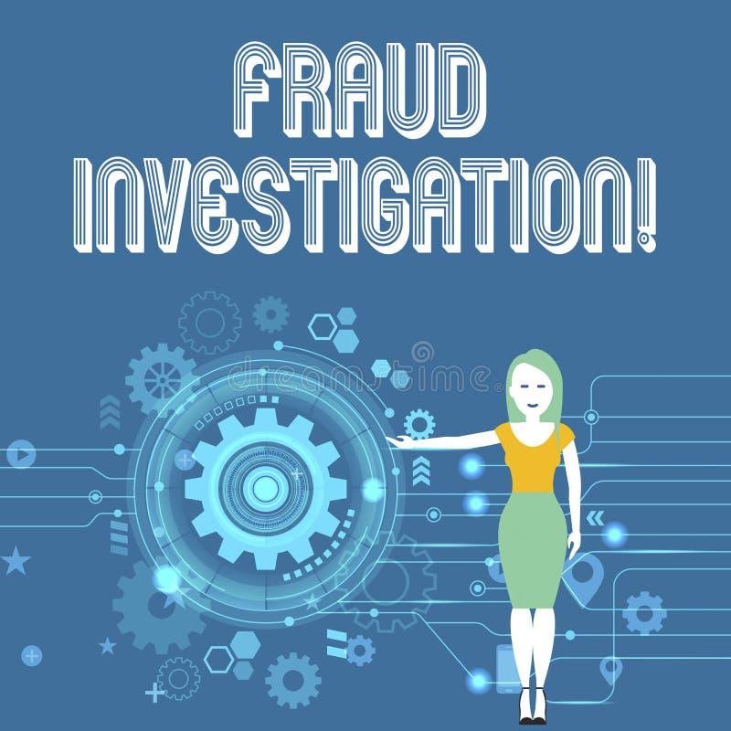 Textzeichenvertretung Betrugs-Untersuchung Begriffsfotoprozeß der Bestimmung, ob ein Betrug stattgefundene Frau hat stock abbildung
