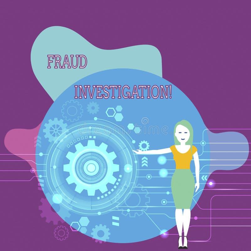 Textzeichenvertretung Betrugs-Untersuchung Begriffsfotoproze? der Bestimmung, ob ein Betrug stattgefundene Frau hat lizenzfreie abbildung