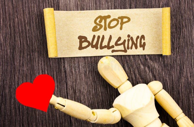 Textzeichenvertretung Endeinschüchterung Begriffsfoto Bewusstseins-Problem über das Gewalttätigkeits-Missbrauchs-Tyrann-Problem g stockbild