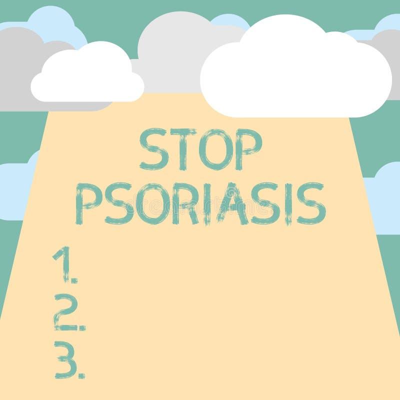 Textzeichenvertretung Endpsoriasis Begriffsfoto Ende die Störung, die die schnelle Anhäufung von Hautzellen verursacht lizenzfreie abbildung