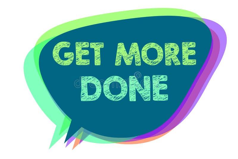 Textzeichenvertretung erhalten getan Begriffs- Foto Checkliste organisierte Zeit-Management-Anfangs-Hardwork-Taten-Spracheblase lizenzfreie abbildung