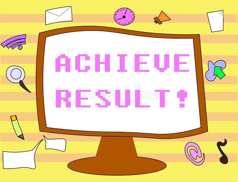 Textzeichenvertretung erzielen Ergebnis Begriffsfoto empfangen erfolgreiches Ergebnis von der harten Arbeit machen Sie glücklich lizenzfreie abbildung