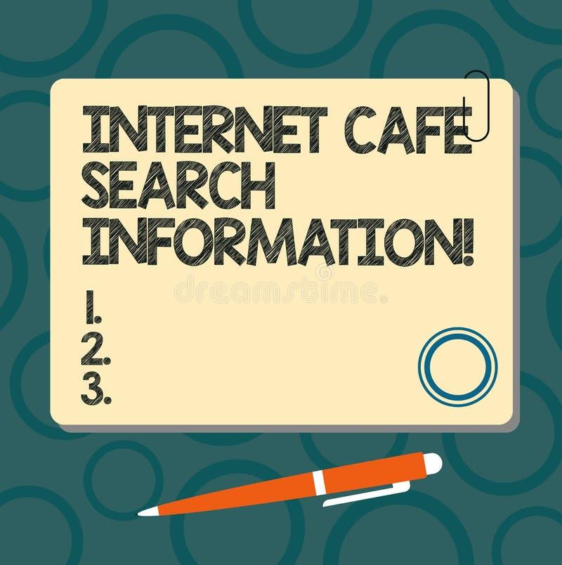 Textzeichenvertretung Internet-Café-Suchinformationen On-line-Untersuchungsc$grasen des Begriffsfotos im Quadrat Netz freien Raum lizenzfreie abbildung