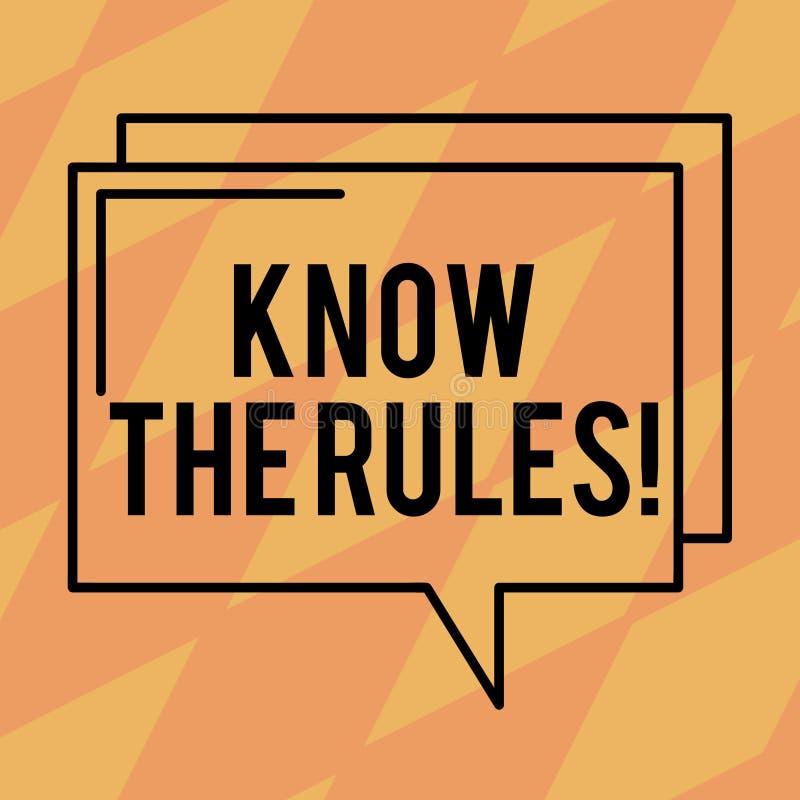 Textzeichenvertretung kennen die Regeln Begriffsfoto berücksichtigt den Gesetzesregelungs-Protokoll-Verfahrens-rechteckigen Entwu vektor abbildung