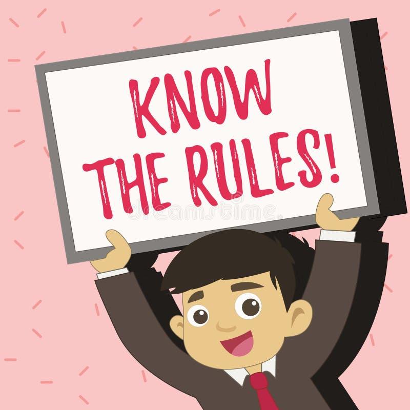 Textzeichenvertretung kennen die Regeln Begriffsfoto berücksichtigt die Gesetzesregelungs-Protokoll-Verfahren  lizenzfreie abbildung