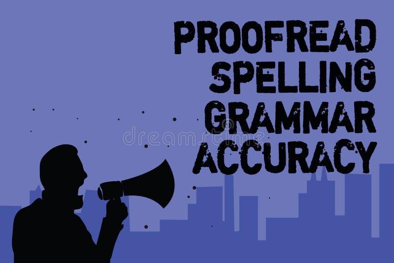 Textzeichenvertretung Korrektur gelesen, Grammatik-Genauigkeit buchstabierend Das Begriffsfoto, das grammatisch korrekt ist, verm vektor abbildung
