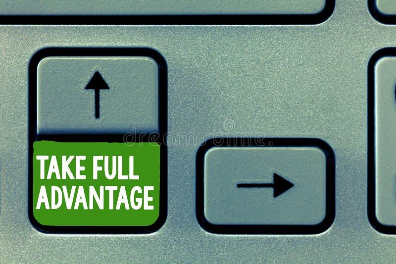 Textzeichenvertretung nehmen vollen Vorteil Begriffsfoto verwenden jemand oder etwas in größtem Maße lizenzfreies stockbild
