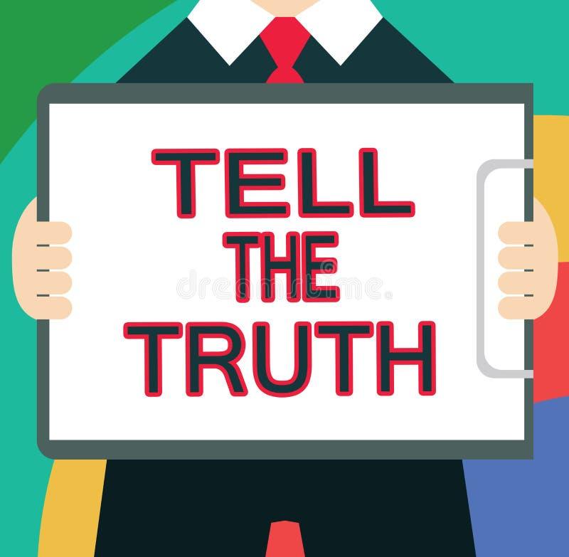 Textzeichenvertretung sagen die Wahrheit Begriffsfoto bekennen irgendeine persönliche Tatsache, die jemand hält versteckt wünscht vektor abbildung