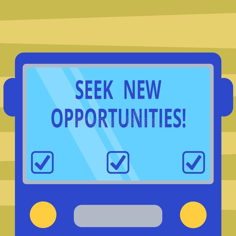 Textzeichenvertretung Suchvorgang-neue Gelegenheiten Begriffsfoto, das einem neuen Job oder nach einem anderen Unternehmen flach  stock abbildung