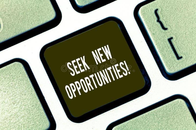 Textzeichenvertretung Suchvorgang-neue Gelegenheiten Begriffsfoto, das einem neuen Job oder nach einer anderen Unternehmen Tastat stock abbildung