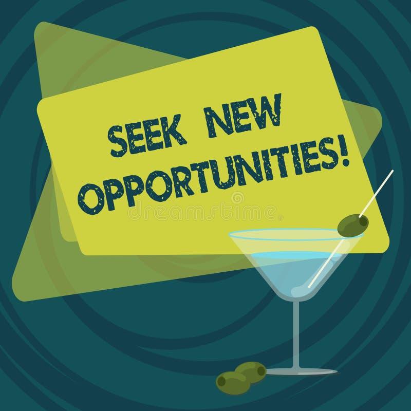 Textzeichenvertretung Suchvorgang-neue Gelegenheiten Das Begriffsfoto, das einem neuen Job oder nach einem anderen Unternehmen su vektor abbildung