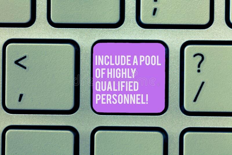 Textzeichenvertretung umfassen ein Pool in hohem Grade des Fachpersonals Begriffsfoto Mietausgezeichnete darstellende Taste lizenzfreie stockfotografie