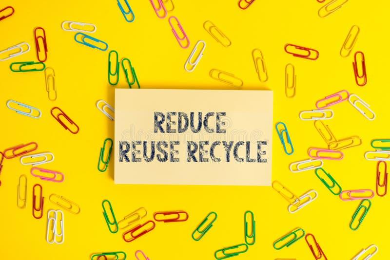 Textzeichenvertretung verringern Wiederverwendung aufbereiten Environmentallyresponsible Verbraucherverhalten des Begriffsfotos lizenzfreie stockbilder