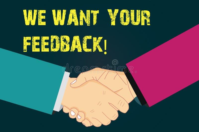 Textzeichenvertretung wünschen wir Ihr Feedback Begriffsfoto, zum von Perforanalysisce oder von Produkt-fristgerechter Reaktion H lizenzfreie abbildung