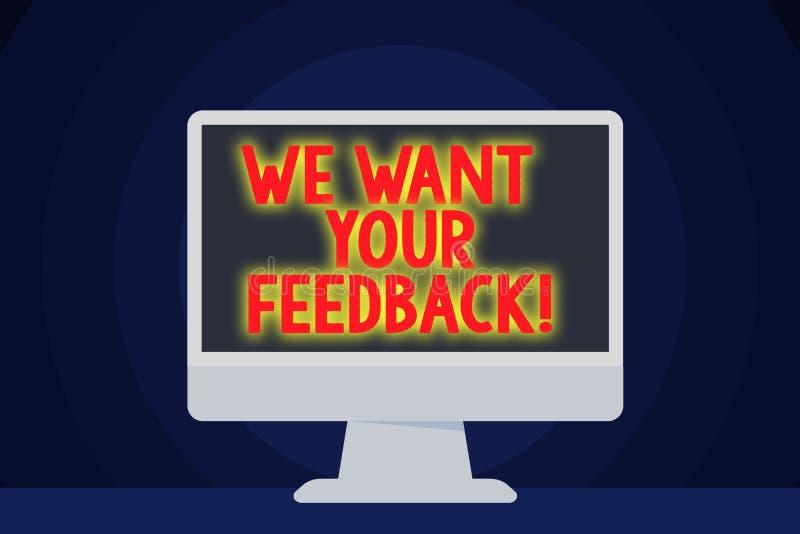 Textzeichenvertretung w?nschen wir Ihr Feedback Die Begriffsfotokritik, die jemand gegeben wird, sagen kann für Verbesserung frei stock abbildung