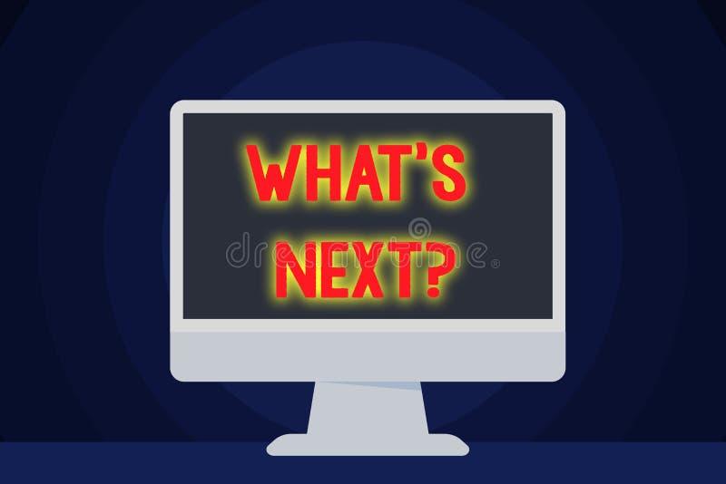 Textzeichenvertretung welche folgende Frage s Begriffsfoto, welches das Demonstrieren nach seinen kommenden Aktionen oder Verhalt vektor abbildung