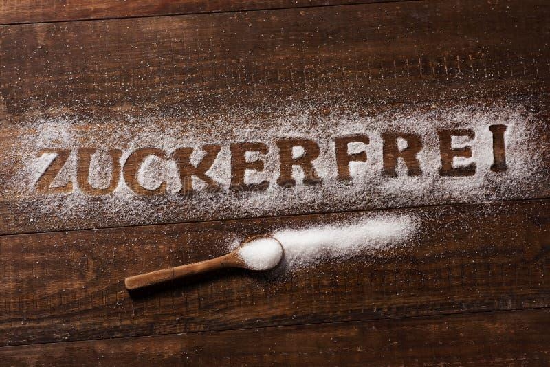 Textzucker frei auf Deutsch geschrieben mit Zucker stockfoto