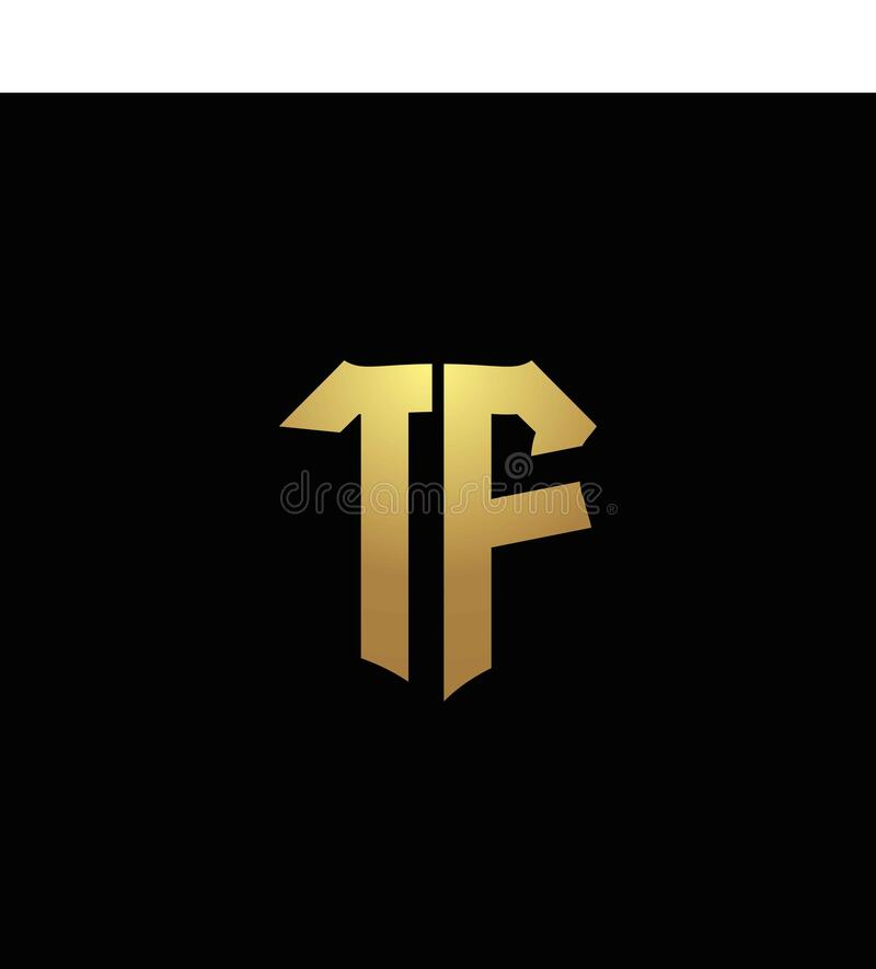 TF Logo Monogram With Gold Colors And Shield Shape Design