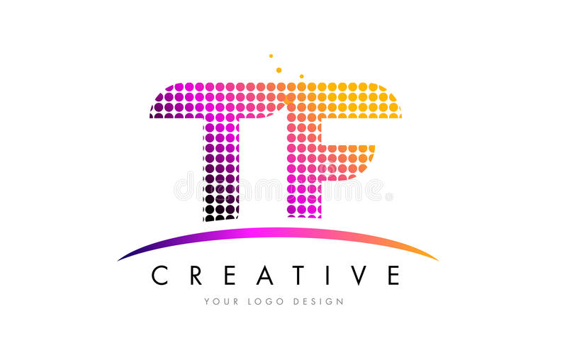 TF T F Letter Logo Design with Magenta Dots and Swoosh. TF T F Dots Letter Logo Design with Magenta Bubble Circles and Swoosh stock illustration