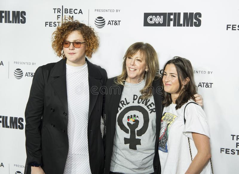 Jane Rosenthal Arrives for Opening Night of 2018 Tribeca Film Festival. TFF co-founder Jane Rosenthal, flanked by daughters Isabella Hatkoff and Juliana Hatkoff stock images