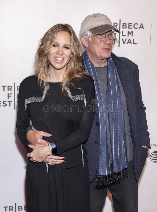 TFF 2019 - It Takes a Lunatic. New York, NY, USA - May 3, 2019:  Alejandra Silva and Richard Gere attend the `It Takes A Lunatic` premiere during 2019 Tribeca royalty free stock image