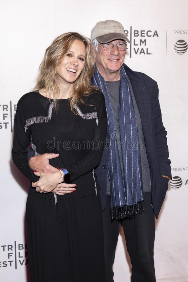 TFF 2019 - It Takes a Lunatic. New York, NY, USA - May 3, 2019:  Alejandra Silva and Richard Gere attend the `It Takes A Lunatic` premiere during 2019 Tribeca royalty free stock photography