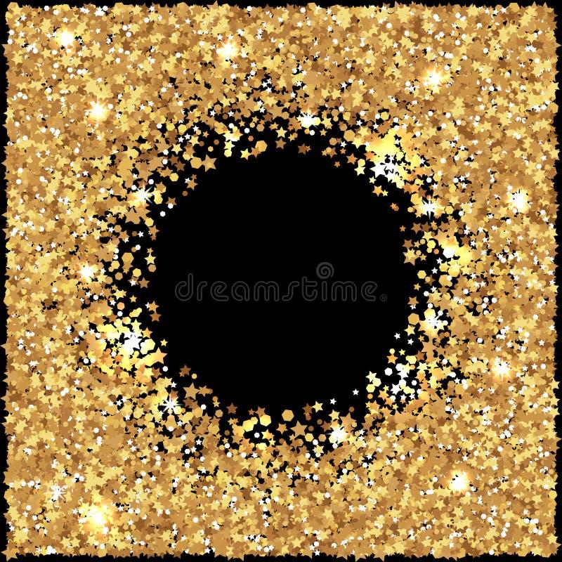 Tframe яркого блеска золота иллюстрация вектора