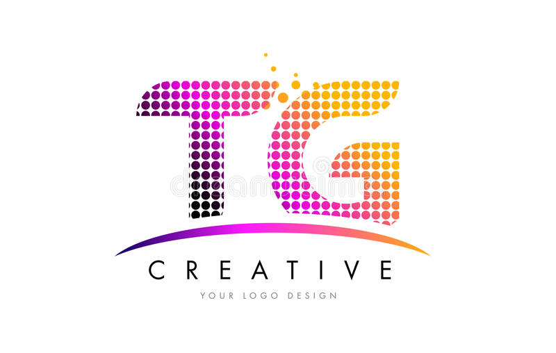 TG T G Letter Logo Design with Magenta Dots and Swoosh. TG T G Dots Letter Logo Design with Magenta Bubble Circles and Swoosh stock illustration