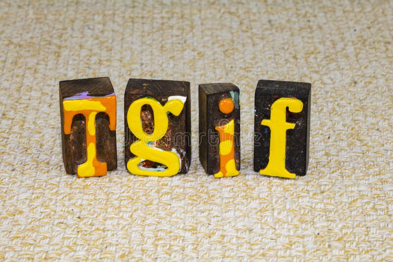 Tgif thank god its friday fun happy party quote. Tgif thank god its friday quote for fun happy party time and weekend work celebration.  Free time off and royalty free stock image