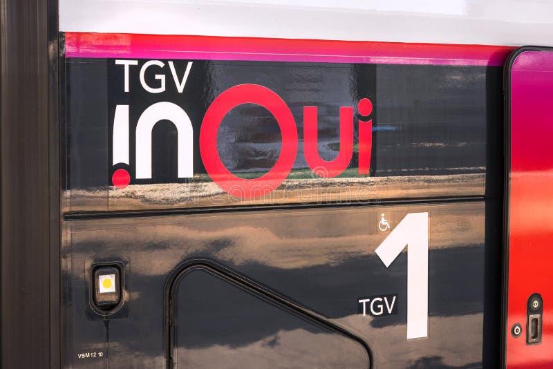Tgv in treno di oui a Francoforte sul Meno hesse Germania fotografie stock libere da diritti