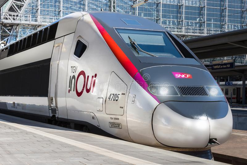Tgv in treno di oui a Francoforte sul Meno hesse Germania fotografia stock libera da diritti