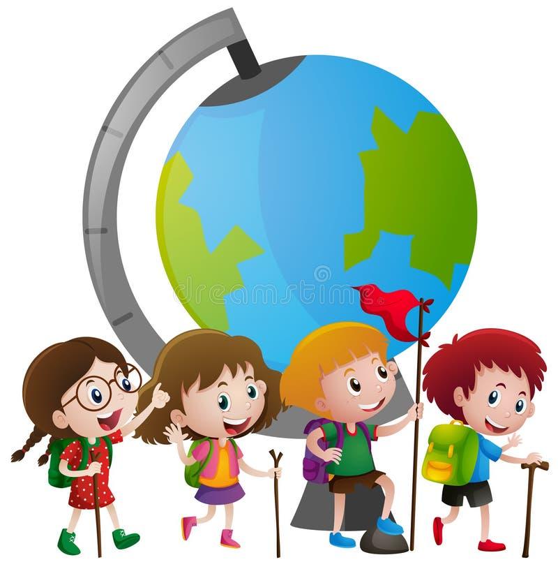 Thème éducatif avec les enfants et le grand globe illustration stock