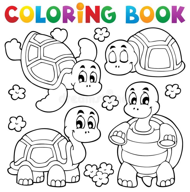 Thème 1 de tortue de livre de coloriage illustration stock