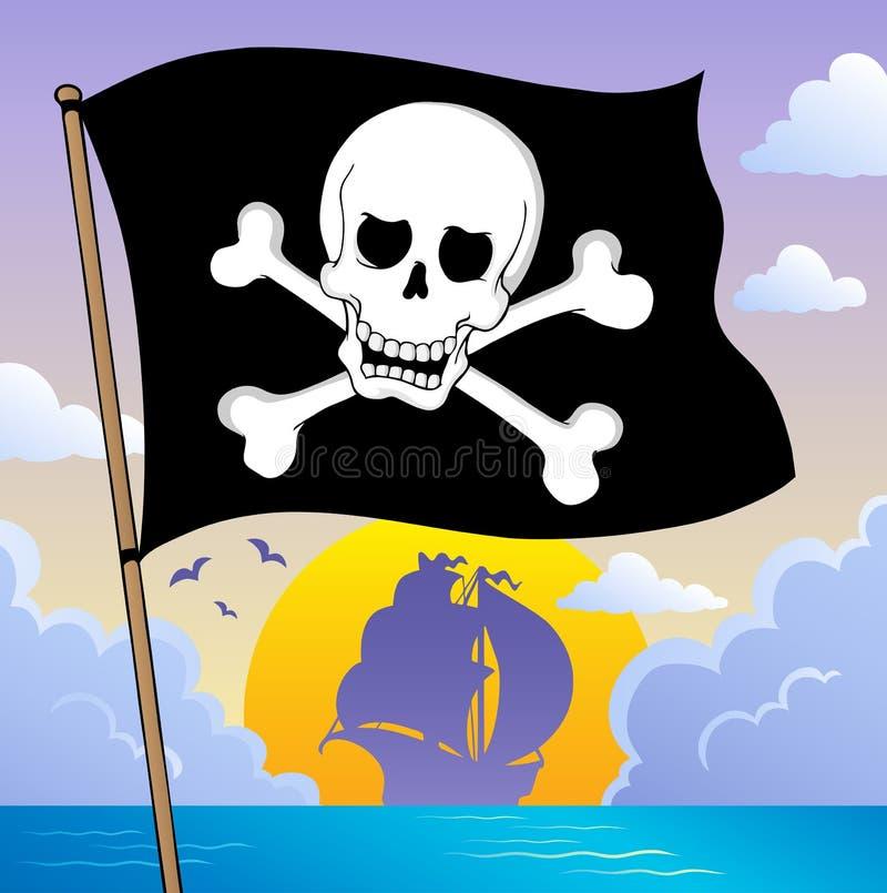 Thème 3 de drapeau de pirate illustration de vecteur