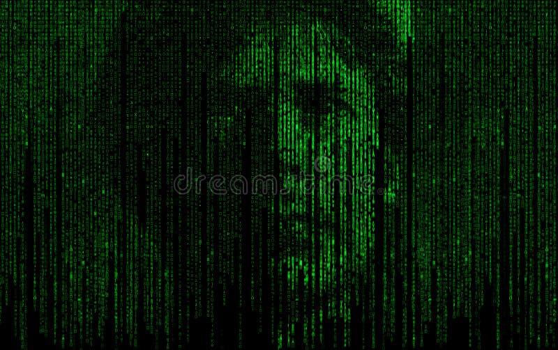 Thème abstrait de la matrice AI avec le visage humain illustration libre de droits