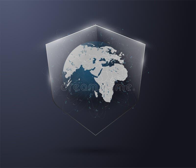 Thème abstrait eps10 de protection des données du monde de fond illustration libre de droits
