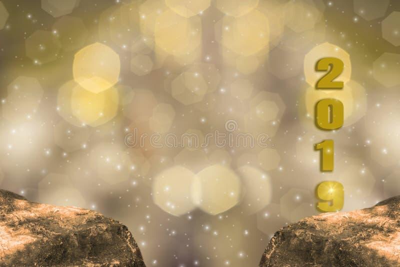 Thème d'éclat d'or, de 2019 bonnes années avec le bokeh léger d'or de scintillement et de fond éclatant illustration de vecteur