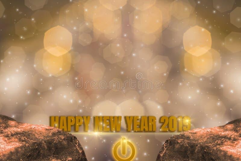 Thème d'éclat d'or, de 2019 bonnes années avec le bokeh léger d'or de scintillement et de fond éclatant illustration libre de droits