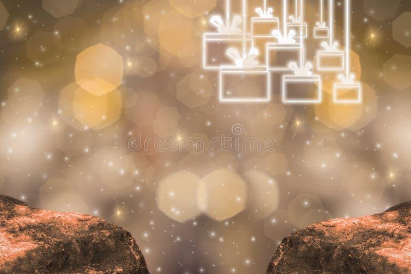 Thème d'éclat d'or, de 2019 bonnes années avec le bokeh léger d'or de scintillement et le fond éclatant, et de boîte-cadeau d'icô illustration de vecteur